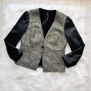 Madewell Black Shimmer Leather Sleeves Blazer